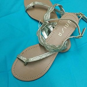 Unisa Gold Glitter Sandals